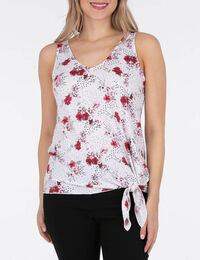 Sleeveless Tie-Front Double-V Top