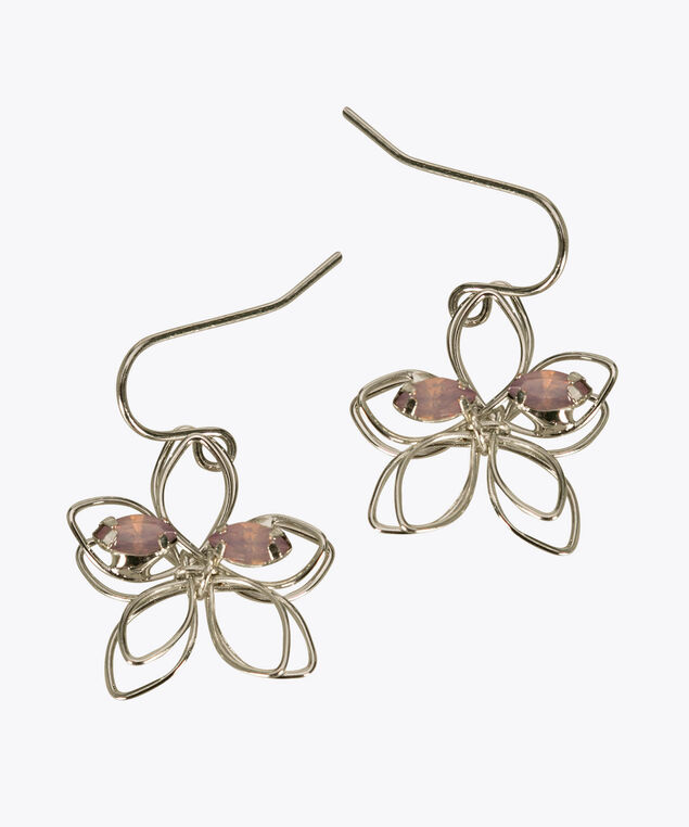 Wire & Crystal Flower Earring, Iced Violet/Rhodium, hi-res