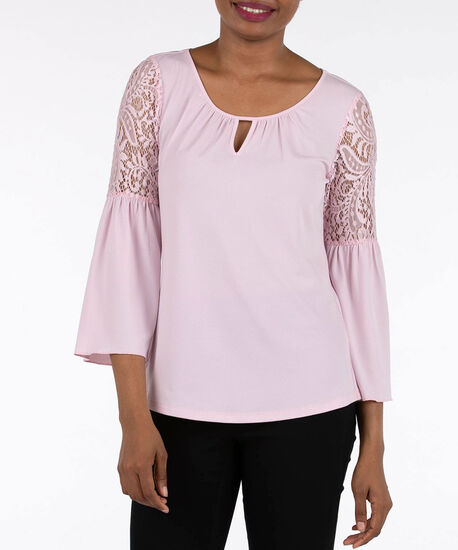 Lace Shoulder Keyhole Peasant Top, Petal Pink, hi-res