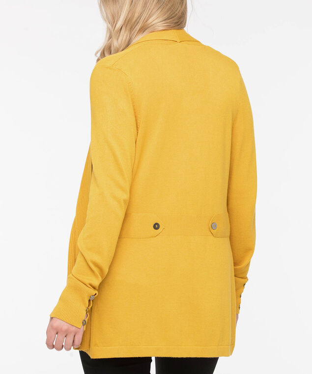 Side Tab Ribbed Trim Cardigan, Mustard, hi-res