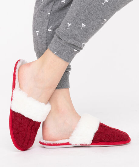 Red Cable Knit Slippers, Red/Pearl, hi-res