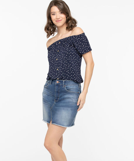 Notch Front Denim Miniskirt, Mid Wash, hi-res