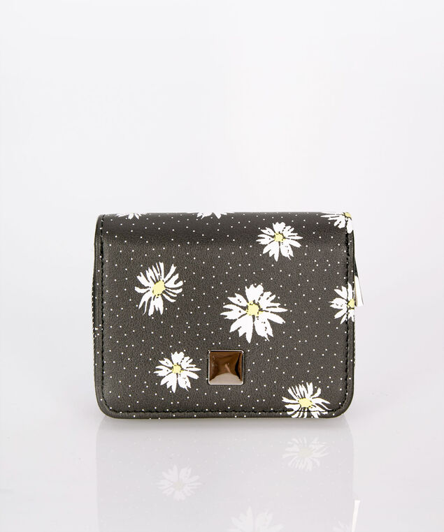 Compact Daisy Wallet, Black/White/Yellow, hi-res