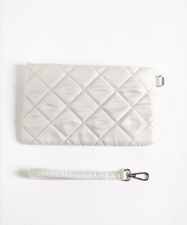 Quilted Everyday Essential Pouch, Light Grey