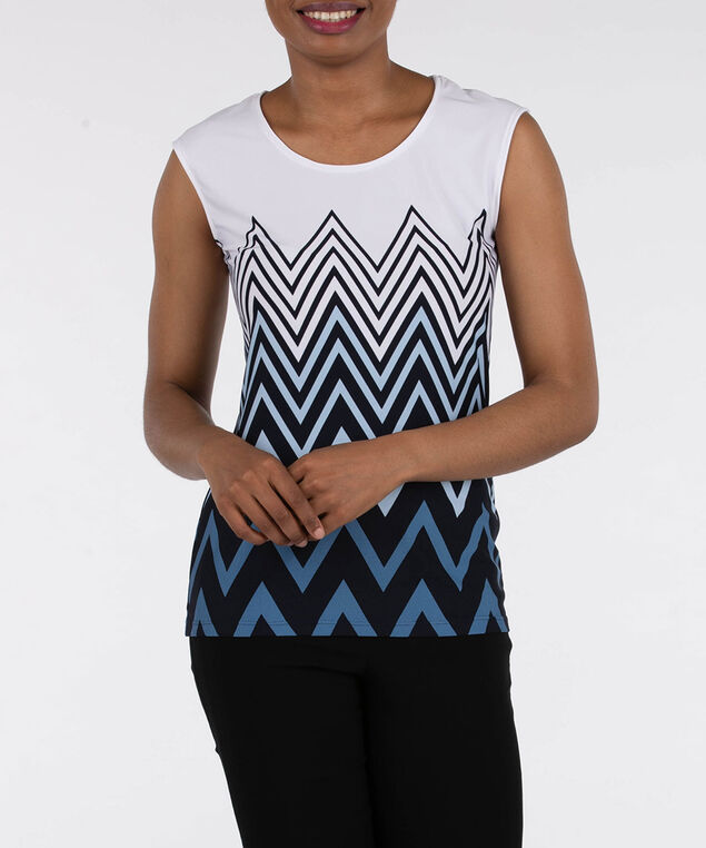 Extended Sleeve Scoop Neck Top, Blue/Pearl/Black, hi-res
