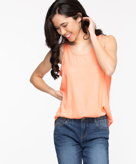 Pleat Back Sleeveless Blouse, Coral Reef, hi-res