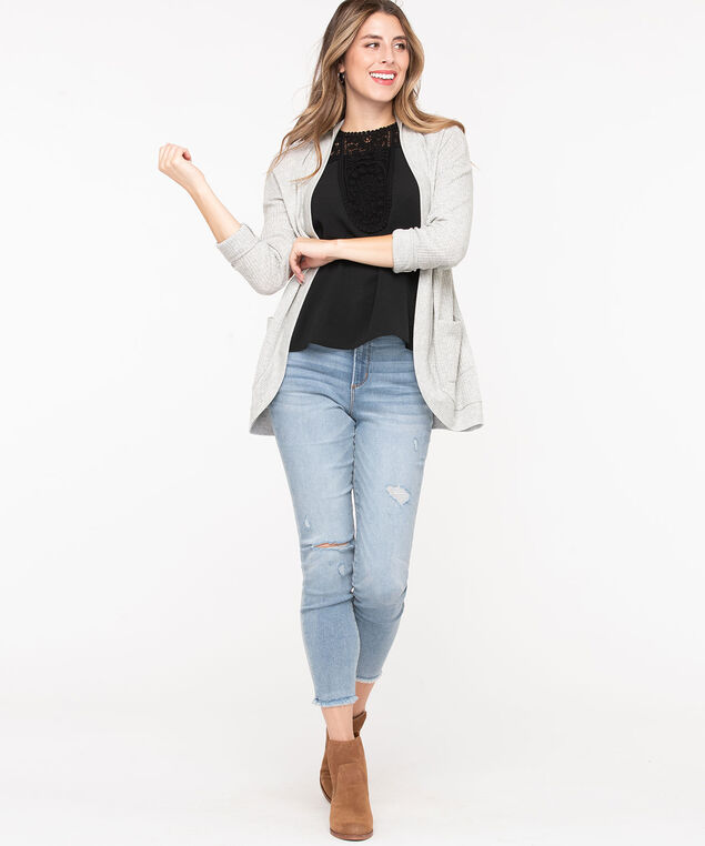Waffle Knit Open Cardigan, Heather Grey