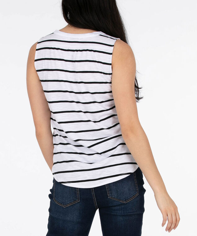 Sleeveless Henley Tee, White/Black, hi-res