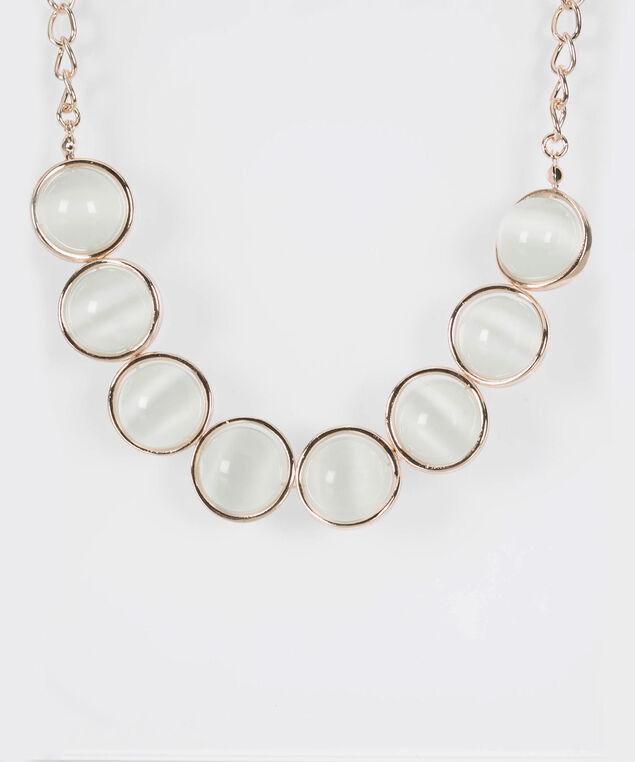 Cateye Stationed Ring Statement Necklace, Rose Gold/Pearl, hi-res