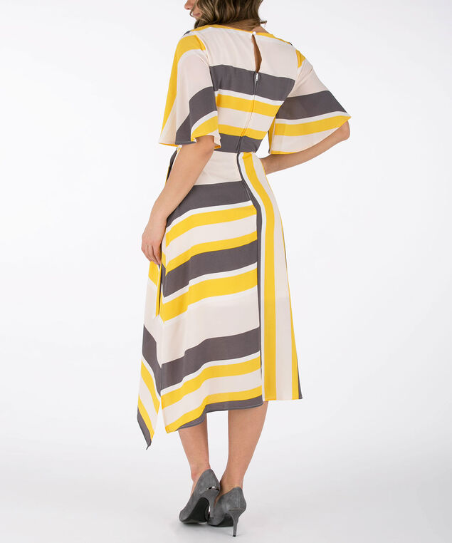 Flounce Sleeve Asymmetrical Dress, Yellow/Grey/Milkshake, hi-res