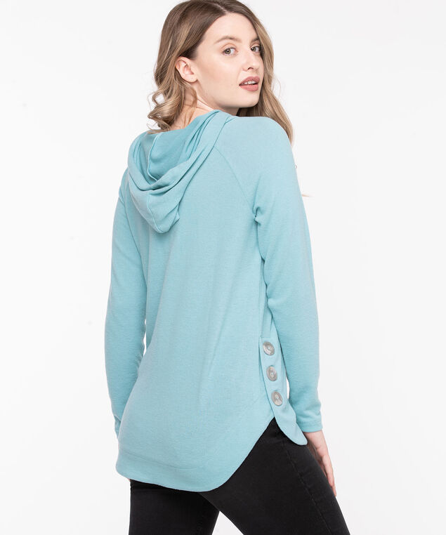 Long Sleeve Hooded Pullover Tunic, Reef Waters