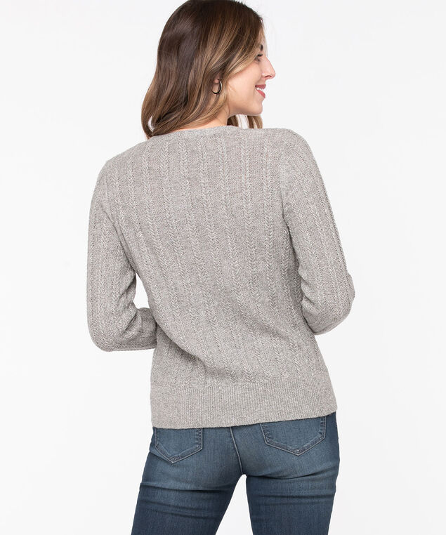 V-Neck Button Front Cardigan, Grey