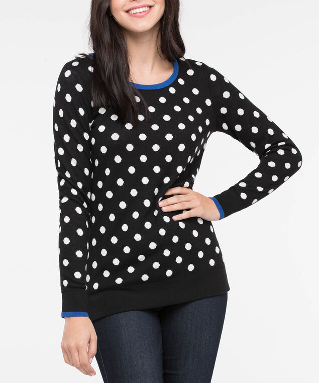 Scoop Neck Polka Dot Sweater, Black/Pearl/Cobalt, hi-res