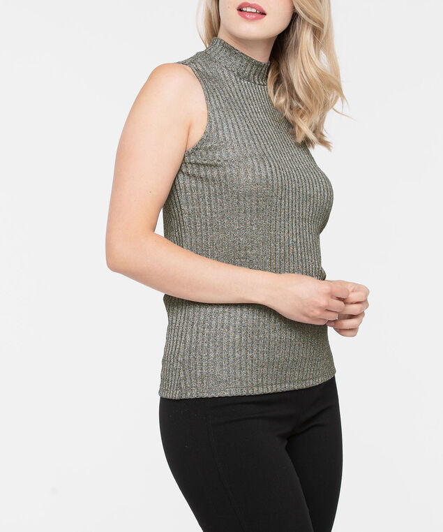 Sleeveless Ribbed Mock Neck Top, Silver Grey, hi-res