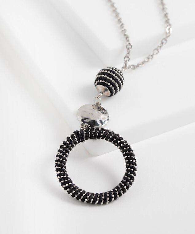 Circle Pendant Long Necklace, Silver/Black