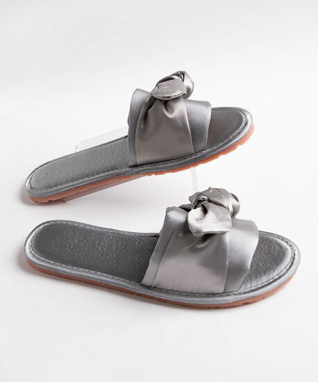 Satin Twisted Bow Slippers, Grey, hi-res
