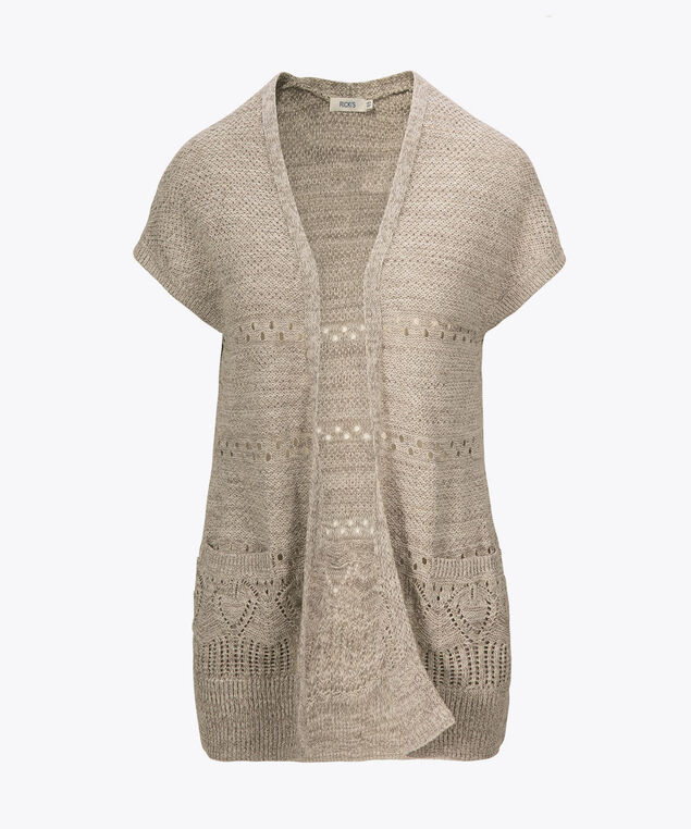Pointelle Extended Sleeve Open Cardigan, Grey, hi-res