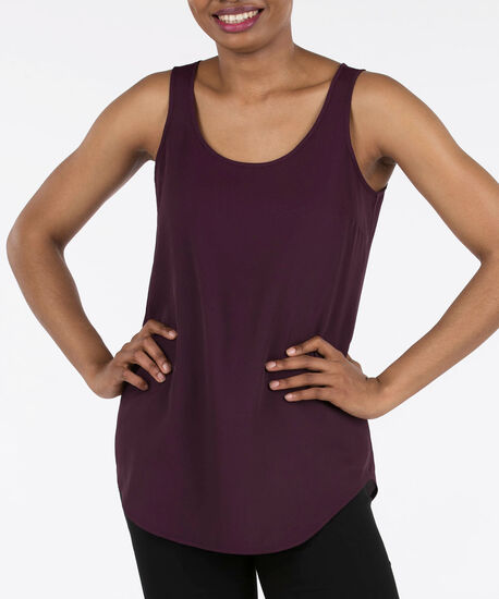 SCOOP NECK WOVEN LAYERING CAMI, Plum, hi-res