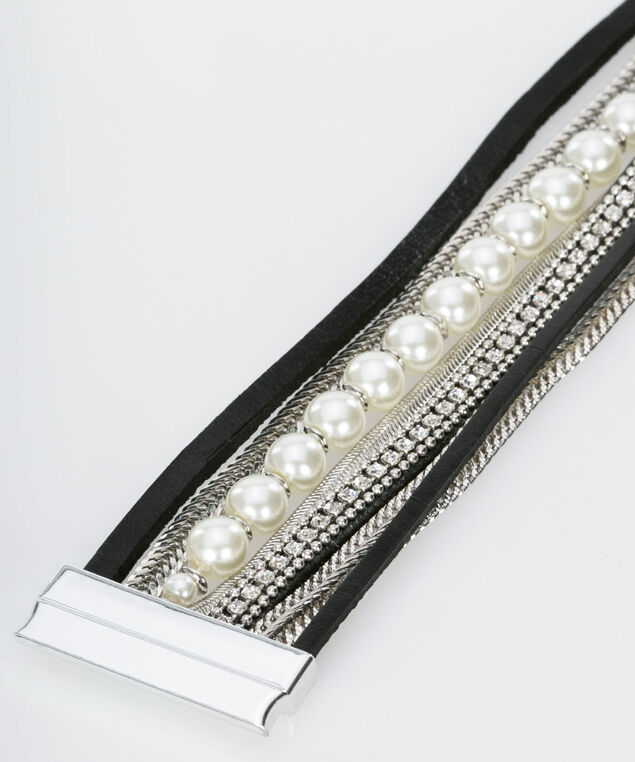 Pearl & Chain Faux Leather Bracelet, Black/Rhodium/Pearl, hi-res