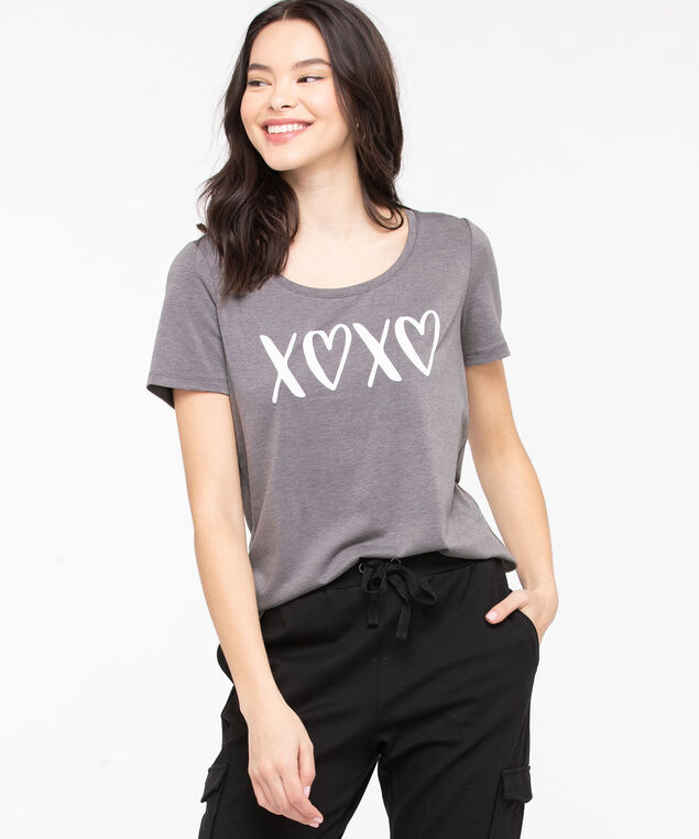 Scoop Neck Graphic Tee, Charcoal/Pearl