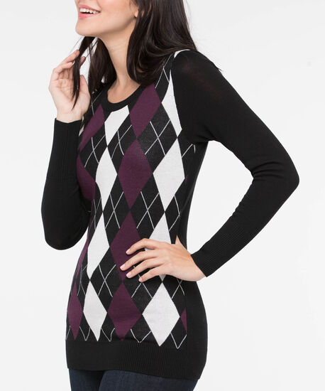 Argyle Pullover Sweater, Black/Burgundy/Pearl, hi-res