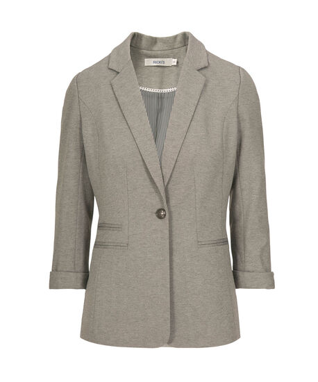 Roll-Cuff Sleeve Boyfriend Blazer, Light Grey, hi-res