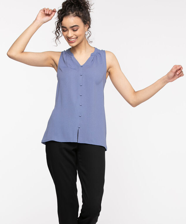 Sleeveless Ruched Button Front Top, Velvet Morning