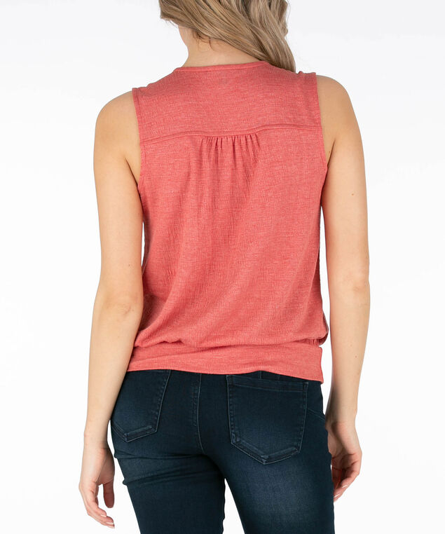 Sleeveless Crossover Side-Tie Top, Coral, hi-res