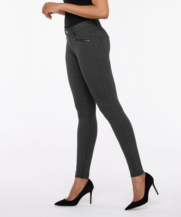 Luxe Ponte Button Front Pull on Pant, Charcoal, hi-res