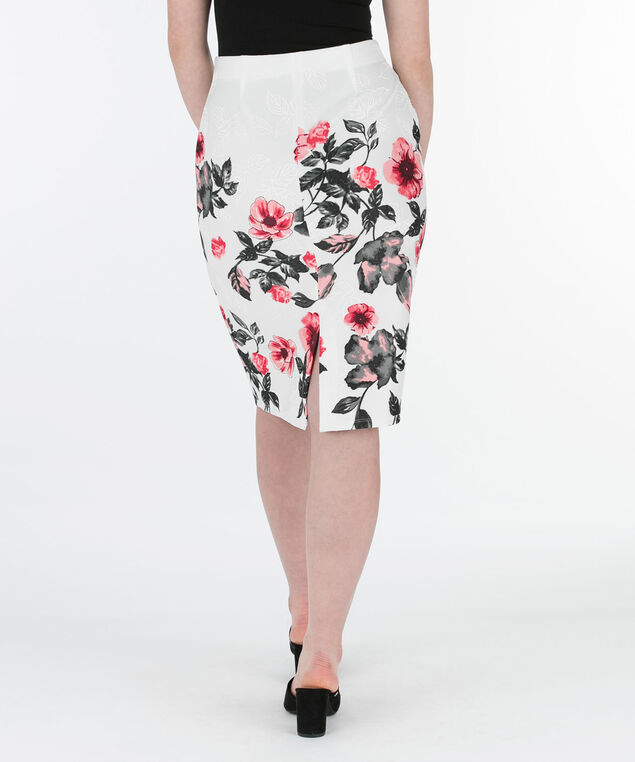 Puff Print Scuba Pencil Skirt, Milkshake/Watermelon/Grey, hi-res