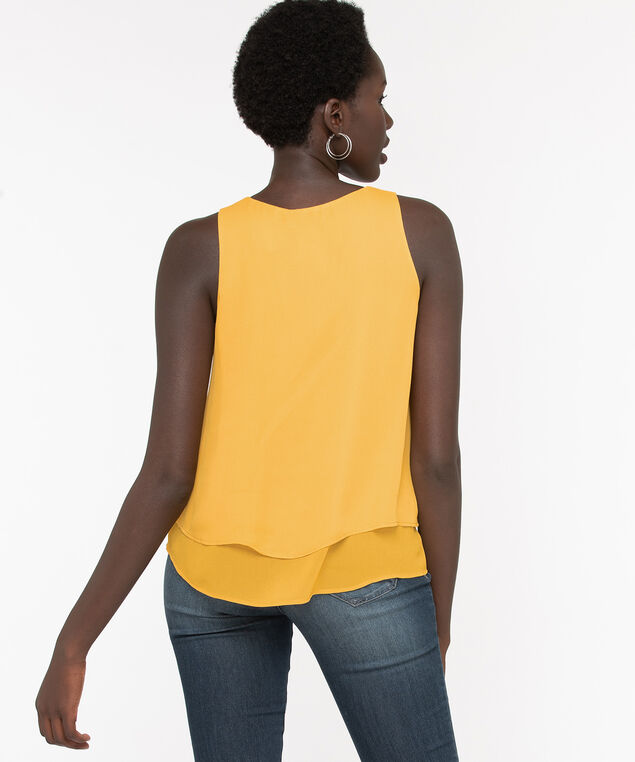 Recycled Sleeveless Layered Blouse, Mustard, hi-res