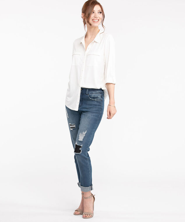 Knit Collared Button Front Shirt, White