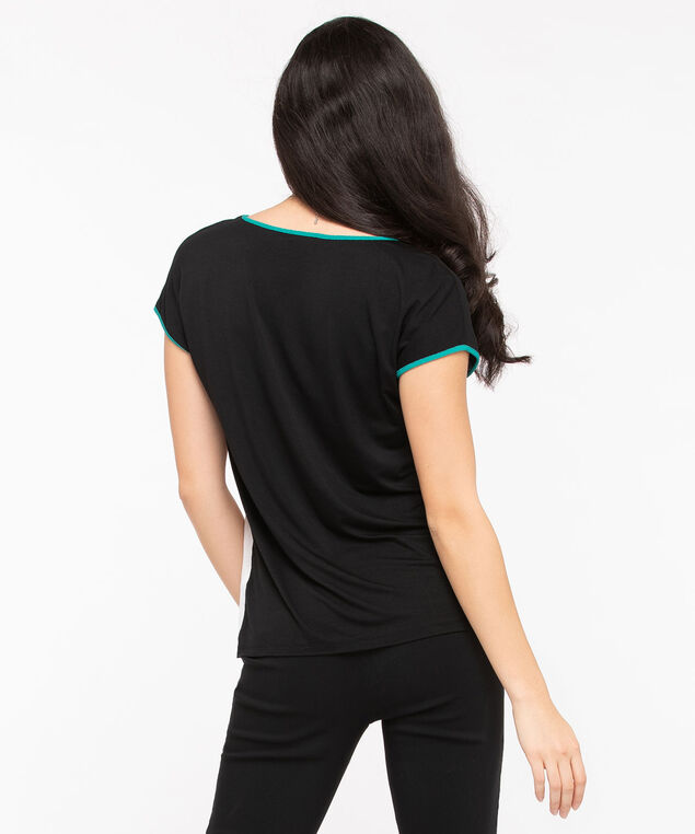 Extended Sleeve Mixed Media Top, Black/Jade/Cool Mint, hi-res