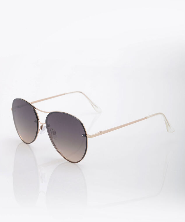 Aviator Sunglasses, Gold/Espresso, hi-res