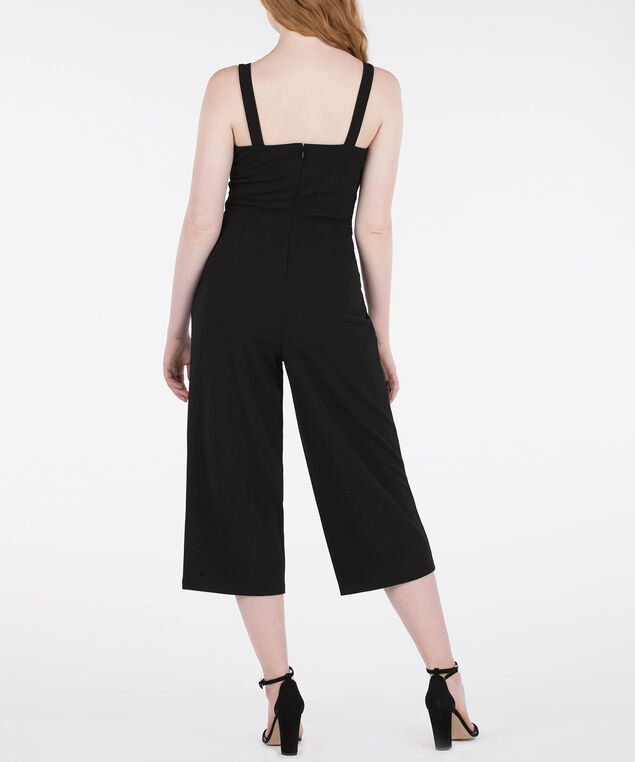 Sleeveless Belted Jumpsuit, Black, hi-res