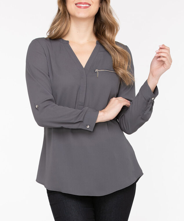 Zipper Pocket Henley Blouse, Charcoal, hi-res