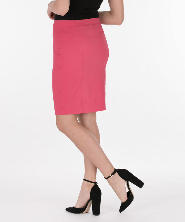 Microtwill Pull-On Pencil Skirt, Watermelon, hi-res