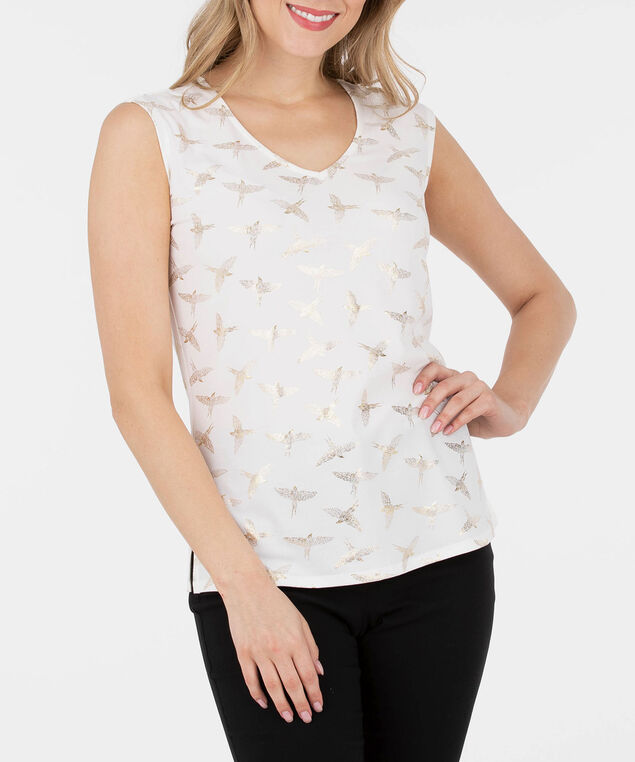 Foil Print Extended Sleeve Top, Pearl/Gold, hi-res
