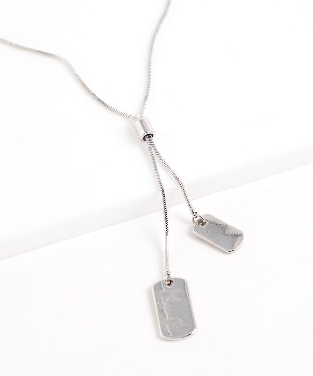 Dog Tag Chain Necklace, Silver