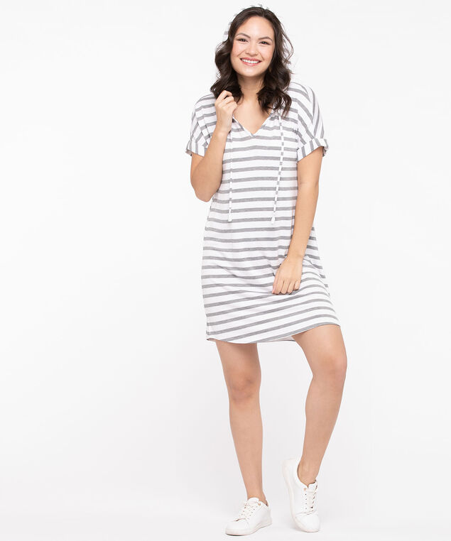 Hooded Drawstring T-Shirt Dress, Stripe, hi-res