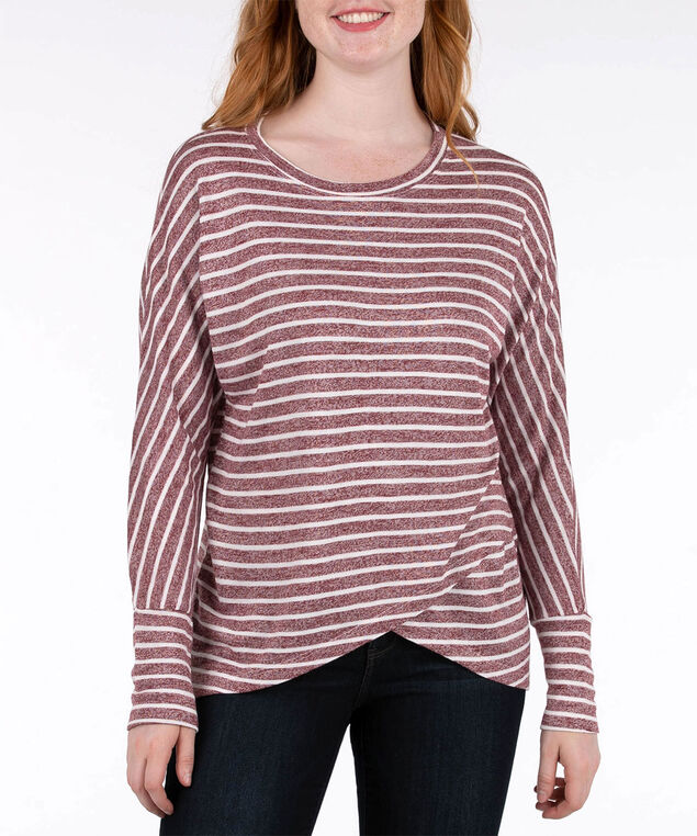 Long Sleeve Crossover Hem Top, Black Cherry/Pearl, hi-res