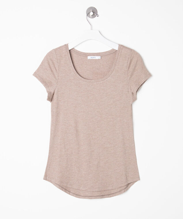 Short Sleeve Scoop Neck Tee, Sand, hi-res