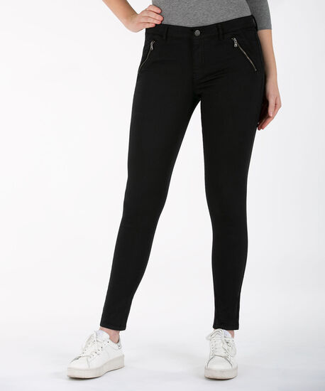 Zipper Pocket Fly Front Jegging, Black, hi-res