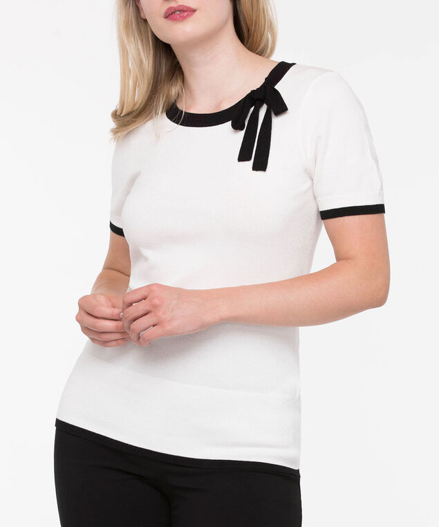 Short Sleeve Bow Neck Sweater, Pearl/Black, hi-res