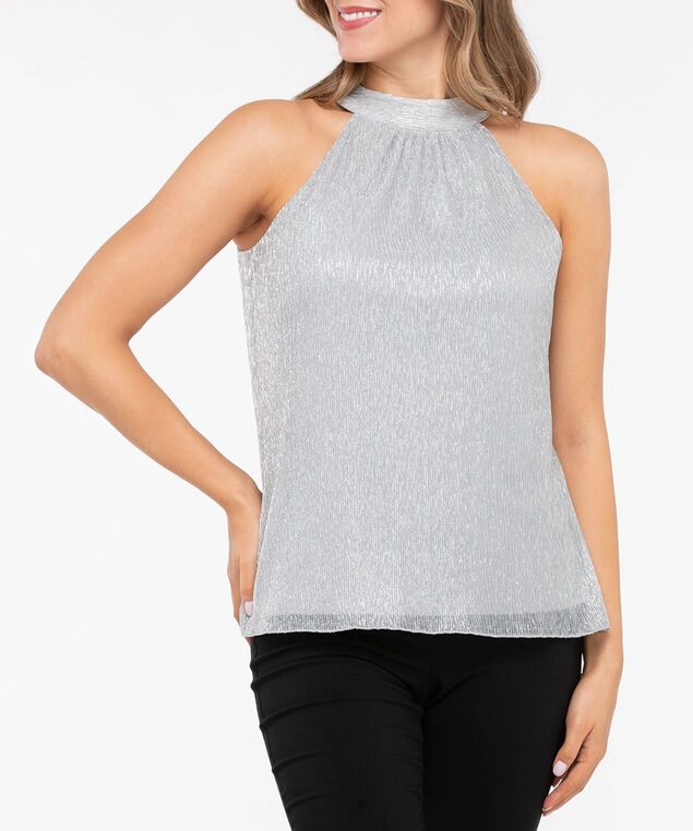 Glitzy Plisse Pleat Halter Top, Silver Sparkle, hi-res