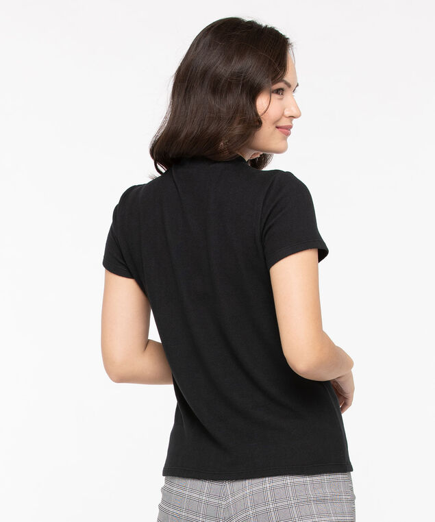 Super Soft Mock Neck Top, Black, hi-res