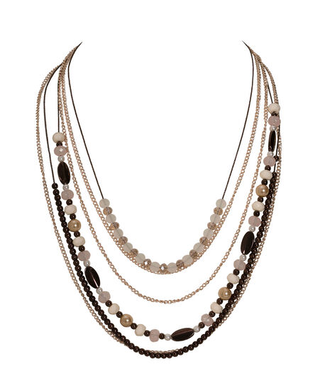 Mixed Metal & Bead Necklace, Iced Violet/Rose Gold/Bronze, hi-res