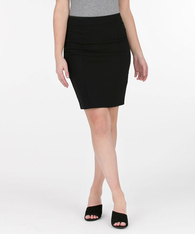 Microtwill Pull On Pencil Skirt, BLACK, hi-res