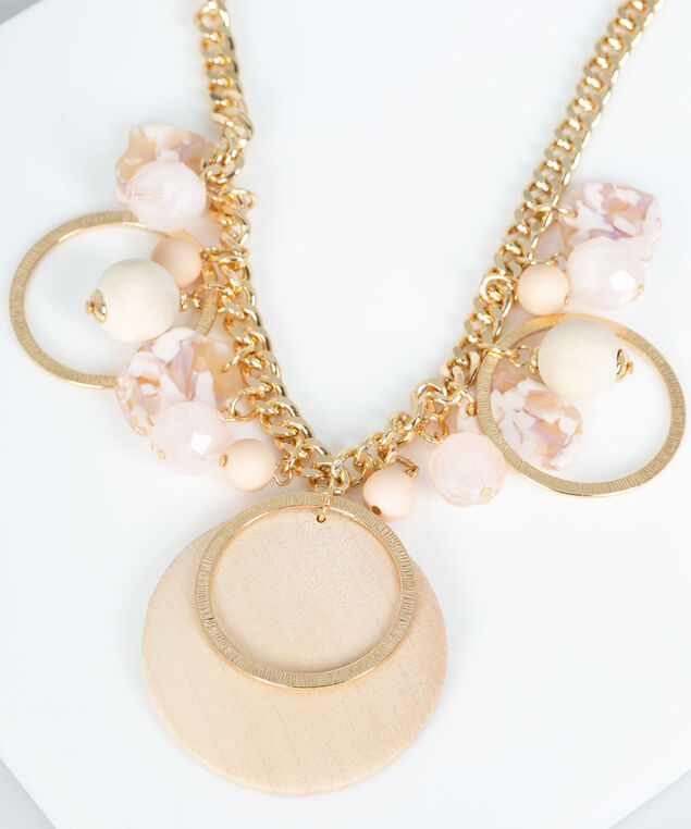 Pastel & Light Wood Circle Statement Necklace, Rose Petal/Gold, hi-res