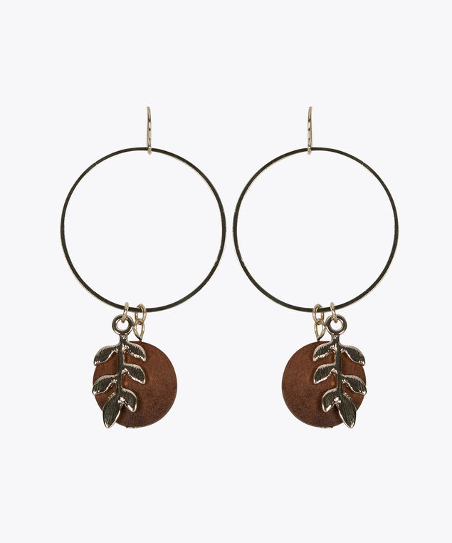 Wooden Disc & Golden Leaf Earring, Gold, hi-res